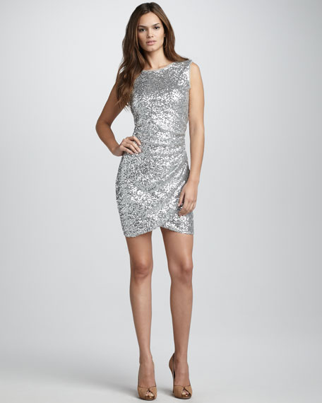Sequined Ruched Dress