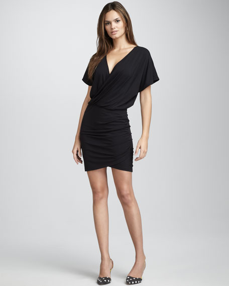 Fitted-Skirt Surplice Dress