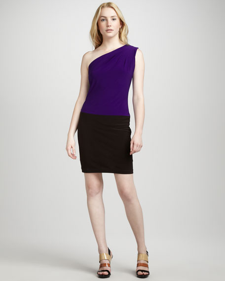 Colorblock One-Shoulder Dress