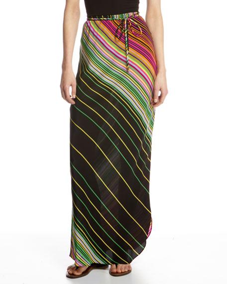 Gradient-Stripe Maxi Skirt