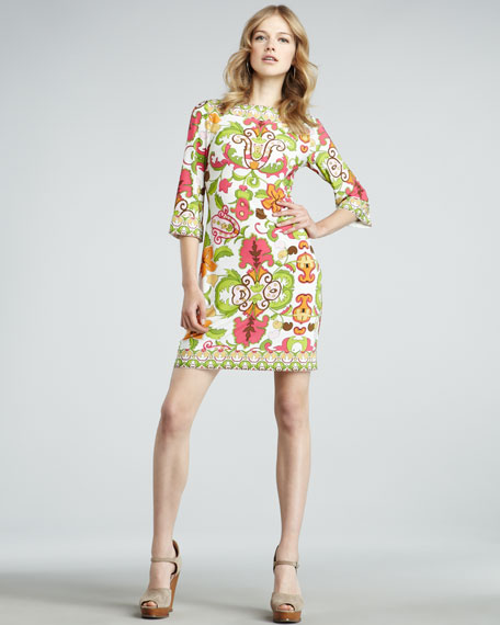 Cactus Flower Three-Quarter Sleeve Dress