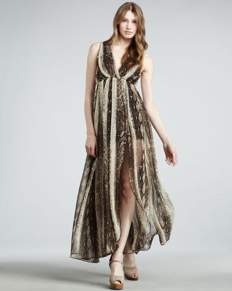 Mia Snake-Print Maxi Dress