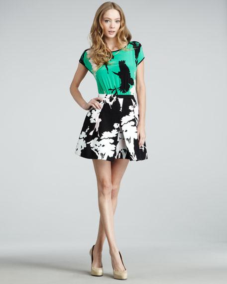 Easy Bird-Print Combo Dress