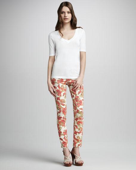 Skyline Chello Floral-Print Ankle Peg Jeans