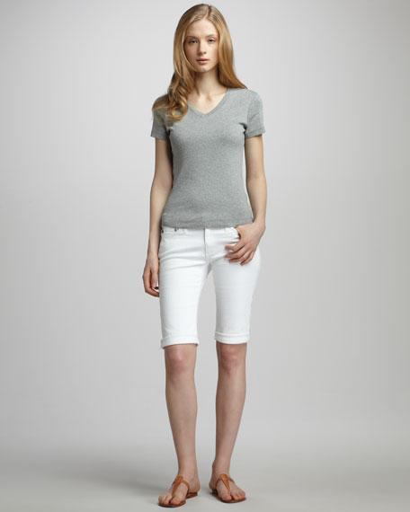 Malibu Denim Bermuda Shorts, White