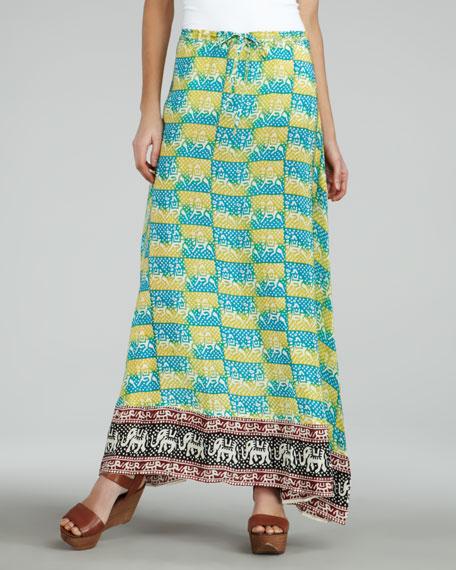 Shauna Elephant-Print Maxi Skirt