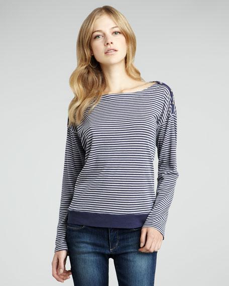 Button-Shoulder Striped Top