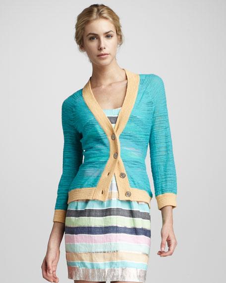 Long-Sleeve Rib-Trim Contrast Cardigan
