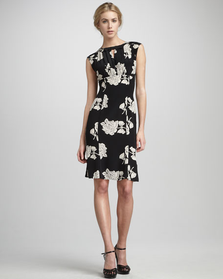 Sleeveless Draped-Bodice Floral Dress