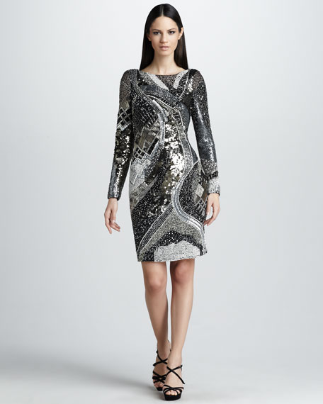 Long-Sleeve Cocktail Dress with Scoop Back