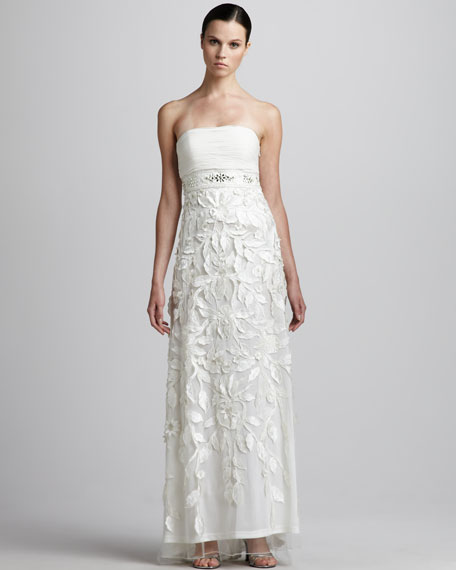 Strapless Gown with Passementerie Skirt