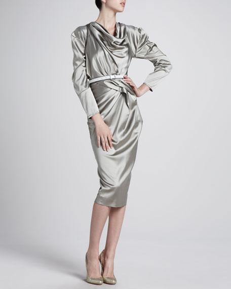 Belted Satin Dress