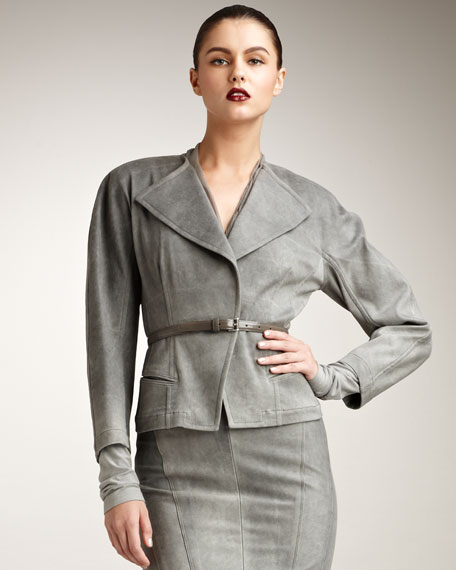 Sueded Twill Belted Jacket