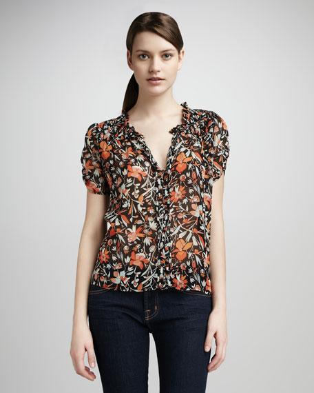 Carmel Tropical-Print Blouse