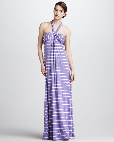 Venice Striped Halter Maxi Dress