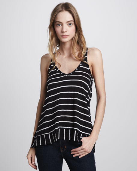 White Venice Stripe Halter Top