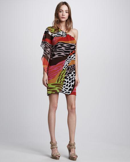 Kaelin One-Shoulder Silk Dress