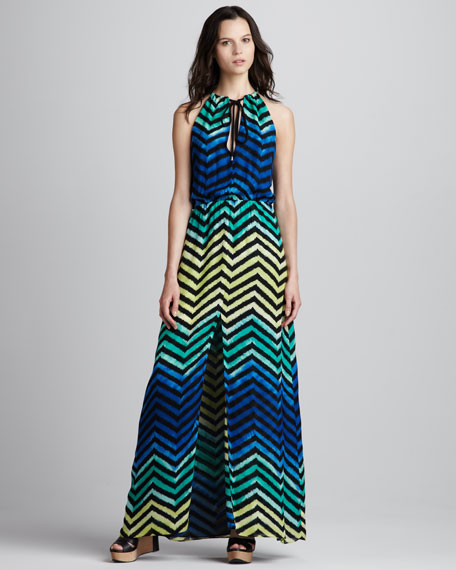 Chevron-Stripe Maxi Dress