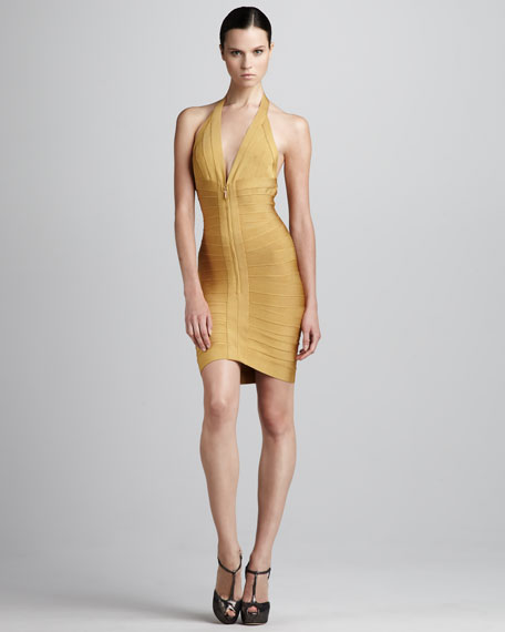 Front-Zip Halter Bandage Dress