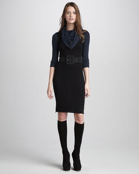 Lecia Drape-Collar Dress