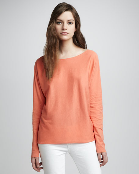 Long-Sleeve Cropped Jersey Top