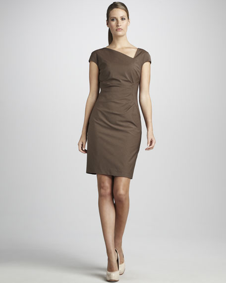 Side-Pleated Asymmetric Dress