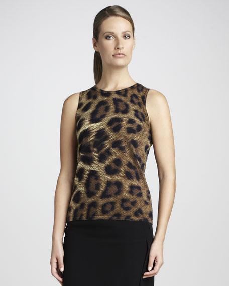 Leopard-Print Cashmere Tank
