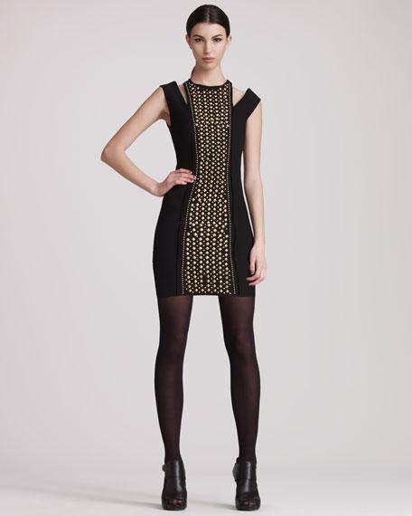Studded Cold-Shoulder Dress