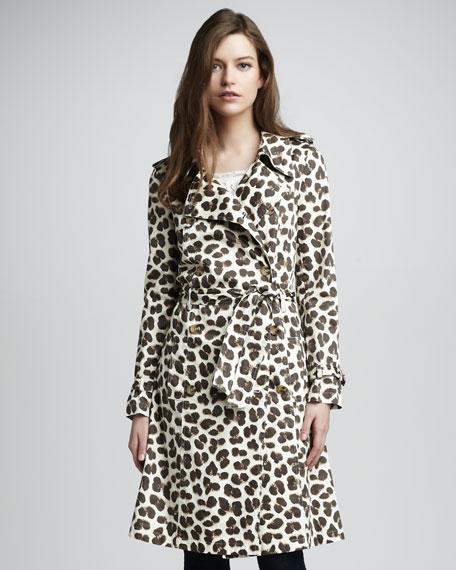 Felina Leopard-Print Trenchcoat
