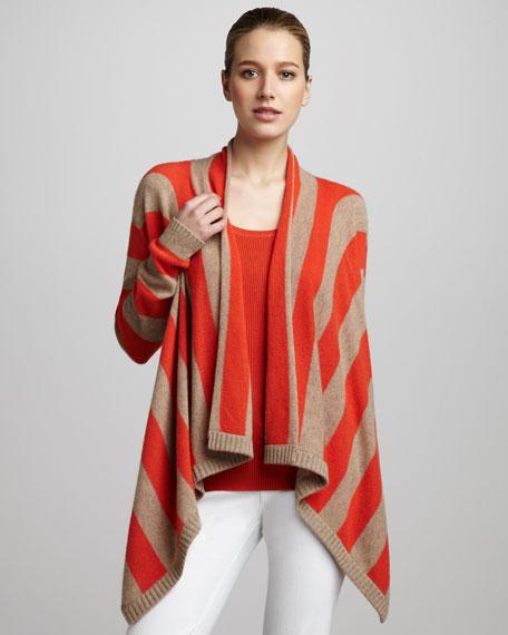 Draped Striped Cashmere Cardigan