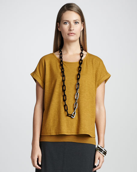 Rolled-Sleeve Boxy Top
