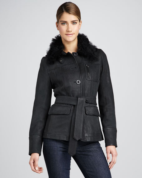 Alexandria Fur-Trim Coat