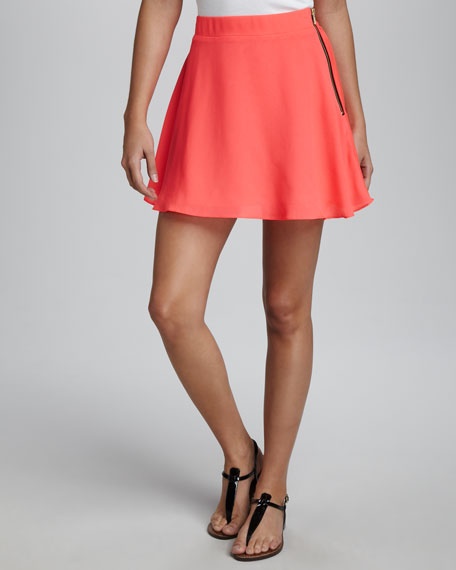 Neon Crepe Skirt