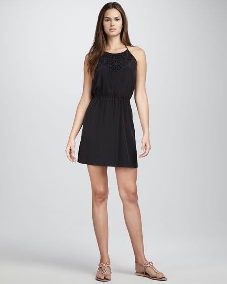 Lace-Front Silk Dress
