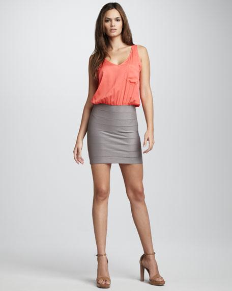 Bandage-Skirt Dress, Coral/Chalk