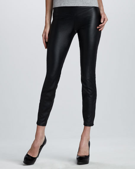Faux-Leather Leggings, Black Bean