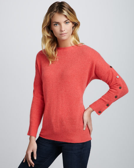 Chelsea Button-Sleeve Cashmere Sweater