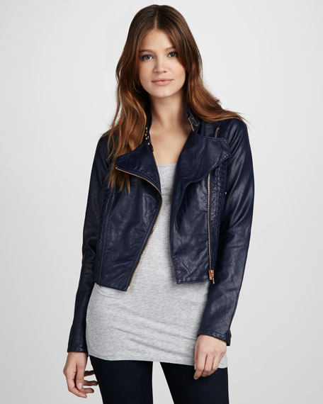 Faux-Leather Motorcycle Jacket