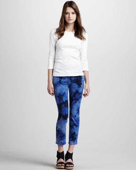 Roxanne Cropped Jeans, Tie Dye
