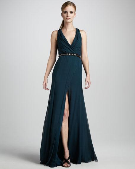 Draped Chiffon Gown