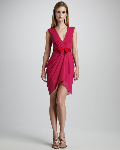 Draped Fitted Cocktail Dress