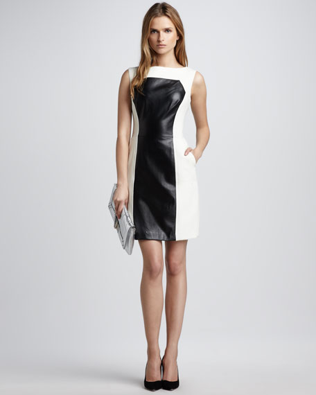 Nina Colorblock Leather Dress, Ecru