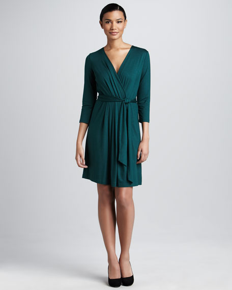 Pleated Faux-Wrap Dress
