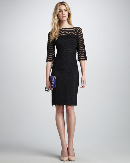 Andrea Wavy-Lace Dress