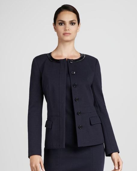Leather-Trim Jacket