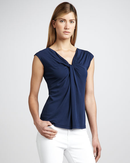 Knot-Neck Jersey Top