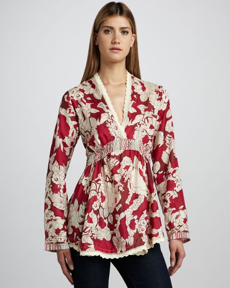 Printed Empire Tunic, Women's