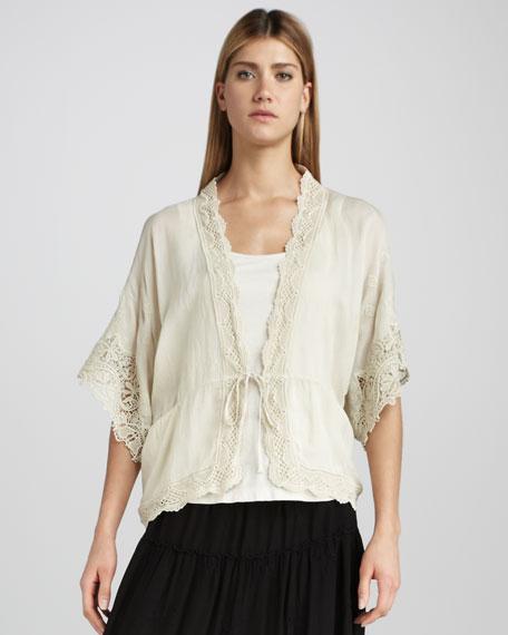 Lace-Trim Tie Jacket