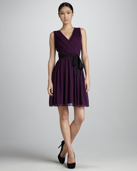 Sleeveless V-Neck Stretch-Silk Dress