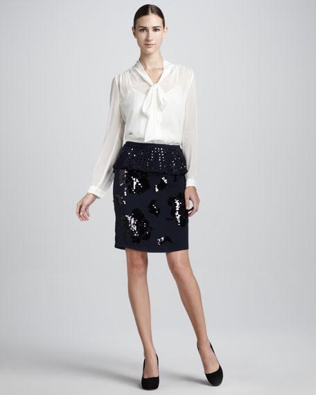 Dolores Peplum Sequined Skirt